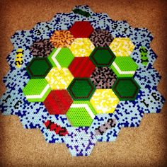 Perler bead Settlers of Catan game board