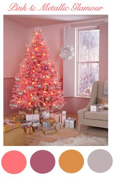 don't know that my husband would ever go for a pink tree (or walls for that matter), but I think its pretty