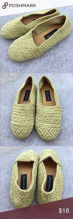 Colin Stuart yellow crotchet / yarn flats size 7.5 Gently worn , size 7.5!, leather bottom sole Colin Stuart Shoes Flats & Loafers