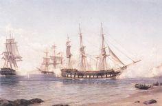 """""""Captura de la Fragata María Isabel"""" Thomas Somerscales. Óleo sobre tela (183x121,5). Nacido en Kingston Upon Hull, Gran Bretaña, a temprana edad se incorpora a la Armada Real de su Majestad Británica, recorriendo océanos, combinando su profesión marina con su afición al dibujo y la pintura."""