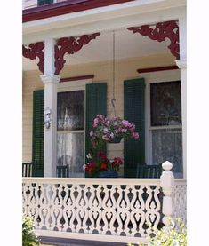 Victorian porch railing with sawn balusters. Victorian Porch, Victorian Homes, Victorian Era, Victorian Fashion, Porch Balusters, Stair Railing, Rocking Chair Porch, Cottage Porch, Sleeping Porch