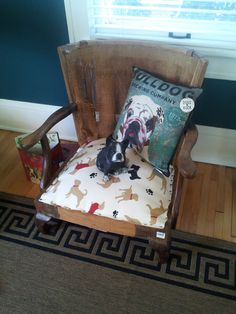 The Polohouse: Dog Bed  Make like an upholstered chair, but with very short legs