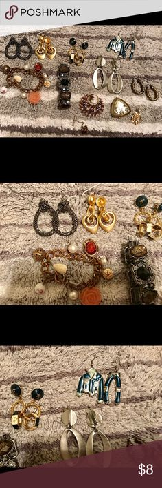 Costume jewelry lot Vintage condition. 1 pair of earrings are clip on. And 1 earring is missing a backing. Selling only as a lot. Will clean up a bit before shipping out. Jewelry