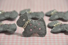 2015/06/24 Set of 4pcs handmade felt puffy scottie dog w/swarovski by AsecInc