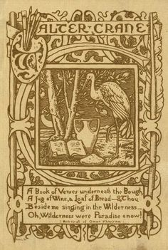 Bookplate designed by Walter Crane (1845-1915) for himself, 1890's