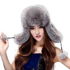 dfd5cab1467 Amazon.com  URSFUR Fox Fur Russian Ushanka Hat Women s Fur Hat with Earflaps    Pom-poms  Clothing