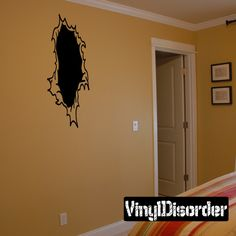 Tears through walls Ripped Wall Decal - Vinyl Decal - Car Decal - CD6106
