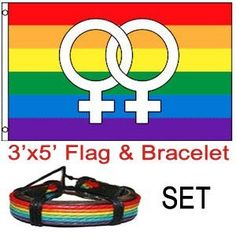 """Double Female Symbol - Rainbow Lesbian Flag - LGBT Flag 3x5 w/ Leather Rainbow Bracelet by Pride Shack. $10.99. This is a 3 x 5 Foot Polyester Flag. The seams are double stitched for durability. The hang band is reinforced and contains 2 brass grommets for hanging! Search """"Pride Shack"""" on Amazon For More Pride Items to Choose From! All Flags come with one (1) Rainbow Leather pride LGBT Bracelet!"""