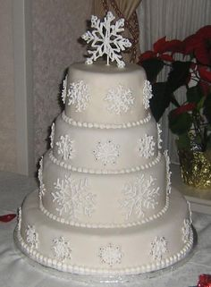 Snowflakes, with a template and some practice can be piped on to your DIY cake.  Some silver dragees are a great finish.
