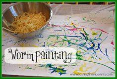 Worm Painting - A fun sensory art project using spaghetti