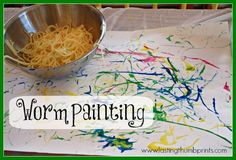 Worm Painting  - A fun sensory art project using spaghetti