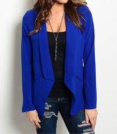 Obsessed To Dress - Long Sleeve Open Front Blazer - Royal, $25.99  ObsessedToDress.com