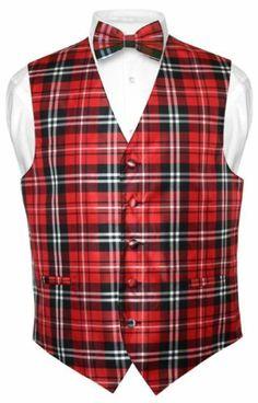 Men's Plaid Dress Vest and Bow-Tie