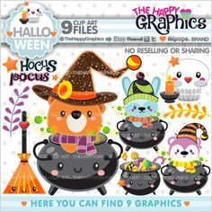 Halloween Clipart, 80%OFF, Halloween Graphic, COMMERCIAL USE, Halloween Party, Planner Accessories, Halloween Celebration, Halloween Kawaii