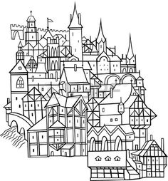 Medieval Town On White Background