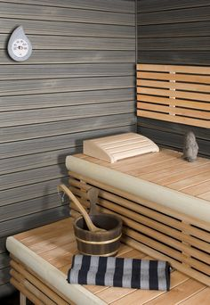 Nice play of colors: gray & light wood Grizzly Peak, Mindful, Bathrooms, Sweet Home, Play, Colors, Health, Life, Sauna Ideas