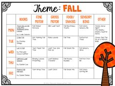 Tons of fall themed activities and ideas. Weekly plan includes books, fine motor, gross motor, sensory bins, snacks and more! Perfect for fall in tot school, preschool, or kindergarten.