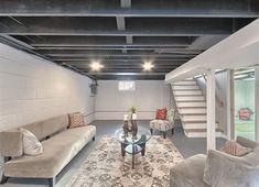 Unfinished Basement Ideas for basement living space ideas for cheap ways to cover basement walls for basement ceiling options home improvement Basement Gym, Basement Makeover, Basement Bedrooms, Basement Renovations, Home Remodeling, Home Renovation, Basement Bathroom, Modern Basement, Industrial Basement