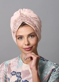 Flower style turban in burgundy. The Turban is stretchy, light, and comfortable. The back of the turban has an elastic strip sewn in for comfort and stability. This versatile turban can be worn as a full or Turban Hijab, Hijab Style, Turban Style, Turbans, Headdress, Headpiece, Hair Tuck, Scarf Knots, Hair Cover