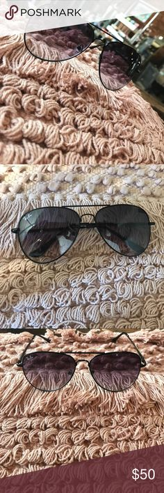 Ray-Ban Black Aviator Sunglasses Black frame with lighter colored black lenses. Minimal wear, have a couple of teeny-tiny, unnoticeable scratches on lenses! Great condition still! Ray-Ban Accessories Glasses