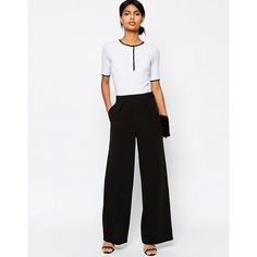 ASOS Wide Leg Trousers with Pleat Detail (220 DKK) via Polyvore featuring pants, pleated trousers, pleated wide leg trousers, pleated wide leg pants, white wide leg trousers and wide leg pants
