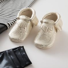 Freshly Picked Moccasins for babies + kids in limited edition metallic faux lizard