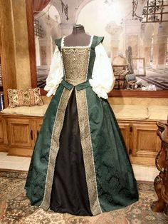 green damask court gown