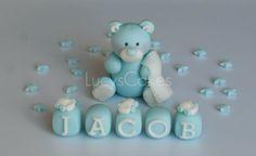 Blue and white teddy christening/1st birthday cake topper set | Flickr - Photo Sharing!