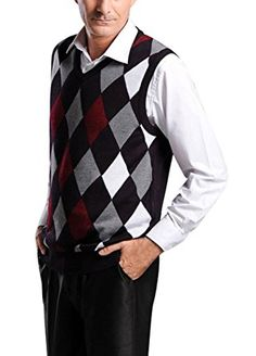 8268265bfbf63 Lyamazing Men s Argyle Sweater Golf Vest - Black Red Blue Overstitch Review