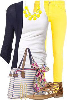 "yellow skinny jeans, navy, white, cognac ""Colored Jeans Nautical Style"" by tammylo-12 ❤ liked on Polyvore"