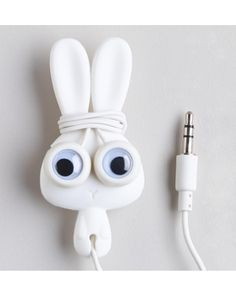 Finally, a simple way to keep earbud cords untangled! This super-cute bunny comes with noise-reducing headphones. Click above to buy one!