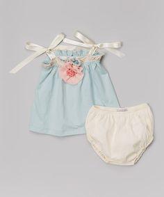 Look at this #zulilyfind! Aqua Gauze Flower Jumper & Pearl Diaper Cover - Infant by Victoria Kids #zulilyfinds