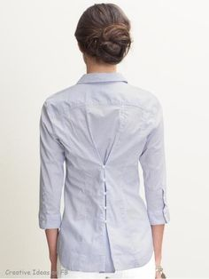 Big shirt - small shirt-DIY repurposed clothing idea with buttons on the back