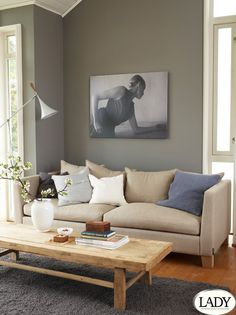 Lady Pure Color 1462 Grå Skifer passer til bomull Decor, Living Room Colors, Colorful Interior Design, Paint Colors For Living Room, Interior Design Inspiration, Wall Colors, Home Decor, House Interior, Living Room Inspiration
