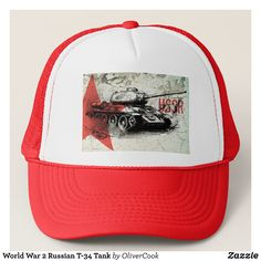 World War 2 Russian T-34 Tank Trucker Hat - Fashionable Urban And Outdoor Hunter Farmer Trucker Hats By Creative Talented Graphic Designers - #hats #truckerhats #fashion #design #designer #fashiondesigner #style #trends #bargain #sale #shopping - Trucker Hats are a great way to cheer your team or promote your brand or make a unique fashion statement or simply keep the sun out of your eyes - Customizable trucker hats are the perfect way to look cool and memorable - Trucker Hats can be…
