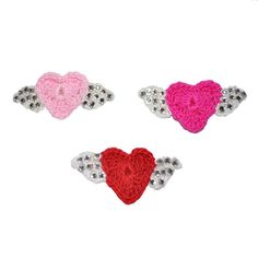 Heart & angel wings Swarovski crystal Crochet Dog Hair Puppy Clip Top Knot Bow for Shih Tzu, Maltese, Yorkie, & more breeds. Hair Clip accessory boutique style bling. Attached to an alligator clip with teeth to hold them securely in your puppy or dogs top knot, ear fur clips, or attach to collars, leash, or outfits. Available for only $8.99  Shop now at poochiepalace.com
