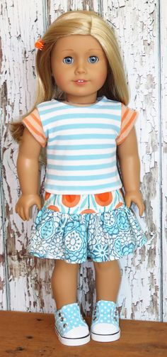 Silly Monkey - Aqua and Orange Striped Top and Mixed-Print Skirt, $15.99 (http://www.silly-monkey.com/products/aqua-and-orange-striped-top-and-mixed-print-skirt.html)