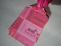 Valentine Ticket Theme Tags 15 Hot Pink Offray by HagansandCompany, $4.25