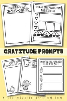 Help your kids focus on the good in their lives with these gratitude sketchbook prompts. Draw or write about the positive with these gratitude prompts for kids. Sketchbook Prompts, Journal Writing Prompts, Writing Prompts For Kids, Writing A Book, Gratitude Journals, Writing Worksheets, Writing Activities, Kindergarten Lesson Plans, Kindergarten Activities