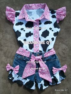 Items similar to Shorts and Blouse Beautiful PINK BANDANA upcycled cowgirl shorts outfit with custom made matching blouse. size - on Etsy Cowgirl Outfits, Baby Outfits, Short Outfits, Toddler Cowgirl Outfit, Cowgirl Birthday Outfits, Cow Birthday Parties, 2nd Birthday, Rodeo Birthday, Birthday Ideas