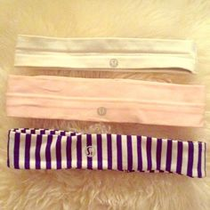 Lululemon head bands! Cheaper on Mer or ️️ blue and white stripes, bubblegum pink and white head bands. All in great condition. Blue white striped in perfect condition NWOT. Pink and white have small foundation marks but can be washed out. All have rubber grip except black! Patterned headbands are $18 each. Pain colors are $14 each. Cheaper as full or partial bundle! Ask any questions! ☺️☺️ cheaper on Mer lululemon athletica Accessories Hair Accessories