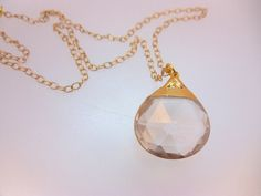 BEAUTIFUL Gold dipped Crystal Quartz Pendant
