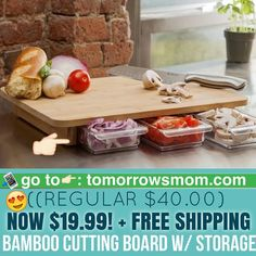 I've waited to find a deal on this bamboo cutting board for you guys! Comes with storage and mineral oil for bamboo board. . Click link in my bio @tomorrowsmom -read  follow the link in my Bio a@Tomorrowsmom at TomorrowsMom.com #tomorrowsmom . #holidays #christmas #gifts #frugal #savings #deals #cosmicmothers #feminineenergy #loa #organic #fitmom #health101 #change #nongmo #organiclife #crunchymama #organicmom #gmofree #organiclifestyle #familysavings #frugal #healthyhabits #lifechanging…