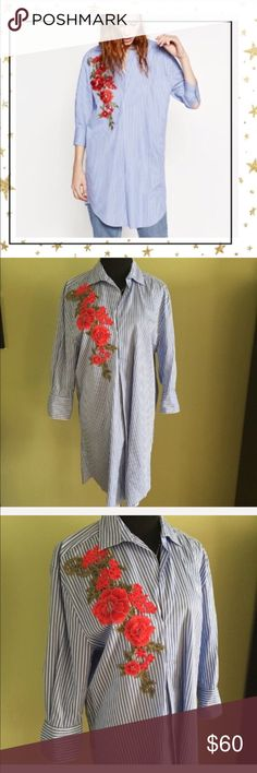 Zara Shirt- dress with Flower Patch (VY23N10C) White and blue striped shirt - dress. Midi length. Tag is removed but item was never worn. Offers welcome. No trade Zara Dresses Midi