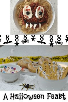 A halloween feast with monster spaghetti, marshmallow eyeballs, vampire donuts and gingerbread skeletons. Served on Denby Pottery Natural Canvas Halloween Treats, Halloween Party, Halloween Decorations, Halloween 2020, Cute Food, Good Food, Yummy Food, Pumpkin Carving Tips, Denby Pottery