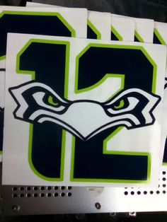 Seattle Seahawks decal12th Man Sticker. Made from 3M's 8-year sign vinyl with air release so virtually it will install flawlessly and air-free and last a long time!  Multiple order discounts available.   LIMITED QUANTITY!!!