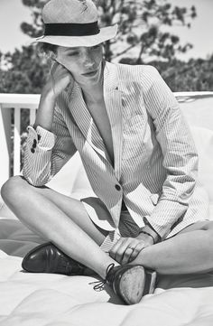 Lexington S/S 2015 // straw hat, seersucker striped shorts suit & oxfords #style #fashion #work