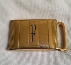 Vintage Gold Plated Letter F Belt Buckle Made in Paris USA