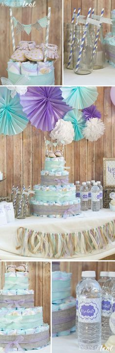 Rustic Glam Baby Shower, Plus Make a Diaper Cake | A Shade Of Teal