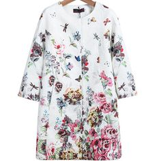 59,90EUR Mantel aus Jacquard mit Blumen und Schmetterlingen